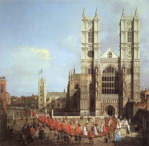 Весминстерское аббатство с процессией рыцарей Ордена Бани кисти Каналетто (1749)